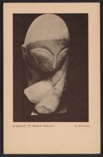 Armory Show postcard with reproduction of Constantin Brancusis sculpture Portrait of Mlle Pogany