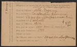 [Armory Show entry form for Constantin Brancusi's sculpture Mlle. Pogany ]