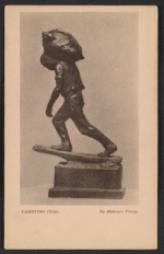 Armory show postcard with reproduction of Mahonri Youngs sculpture Carrying coal