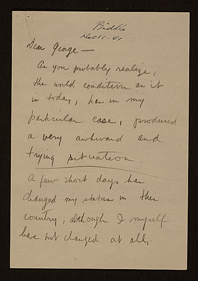 [Yasuo Kuniyoshi letter to George Biddle]