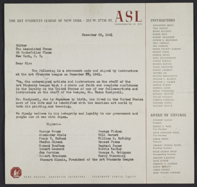 Art Students League instructors letter of reference for Yasuo Kuniyoshi to the Associated Press