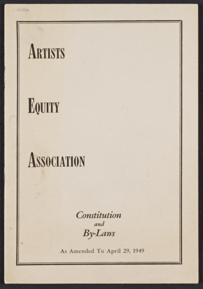 Artists Equity Association constitution and by-laws