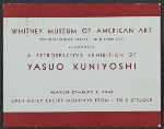 Whitney Museum of American Art announcement for the retrospective exhibition of Yasuo Kuniyoshi