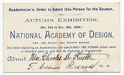 [National Academy of Design Autumn Exhibition ticket]