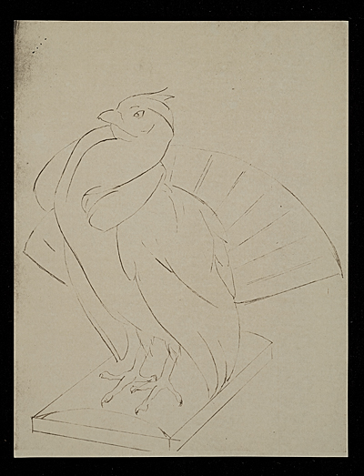 [Sketch of Turkey on log with head tilted]