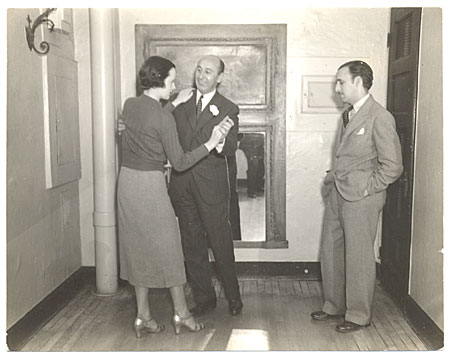 [Abril Lamarque with dance instructor Arthur Murray and female]