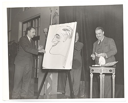 Abril Lamarque with a caricature of F.D.R.