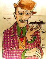 [Color sketch of magician with cigar drawing ]