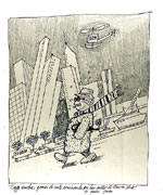 [Man walking with New York City in the backdrop drawing ]
