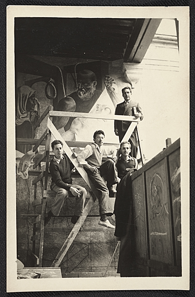 Jules Langsner, Philip Guston, Reuben Kadish and David Siqueiros with the mural Inquisition in Mexico