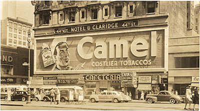 The Camel cigarette sign by day, Broadway, New York City