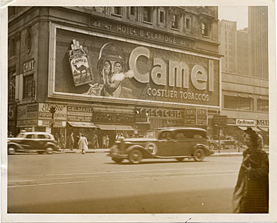 The Camel cigarette sign blowing smoke rings, Broadway, New York City