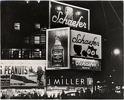 Schaefer Beer Spectacular and billboards, Times Square, New York City