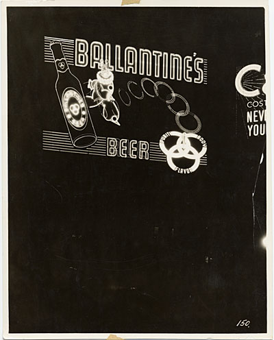 """Ballantine beer clowns pitching quoits to form the beer's three-ring trademark,"" Douglas Leigh Spectacular, Broadway at West 48th Street, New York City"