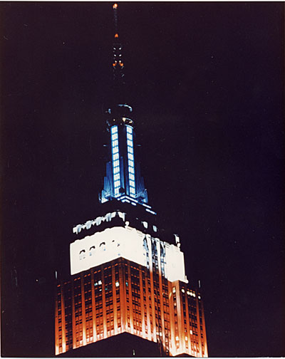 Empire State Building lighted for the Bicentennial