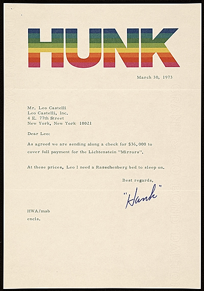 [Harry Anderson letter to Leo Castelli]