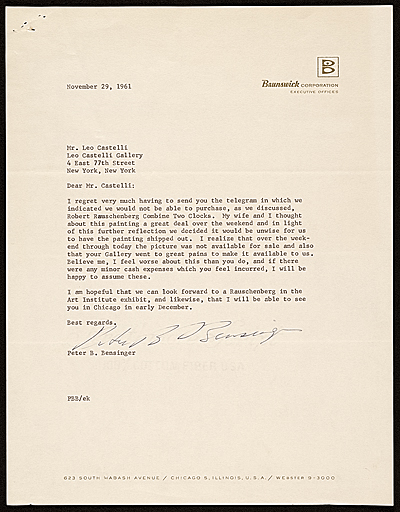 [Peter B. Bensinger, Chicago, Ill. letter to Leo Castelli, New York, N.Y.]
