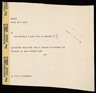 Robert Rauschenberg telegram to Leo Castelli, 1961 May 5, Leo Castelli Gallery records, Archives of