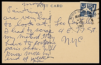 [Jasper Johns, S.C. postcard to Leo Castelli, New York, N.Y.]