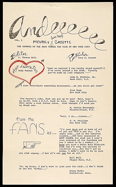 Andeeeeee monthly (wee hope) gazette: The journal of the Andy Warhol Fan Club of New York City