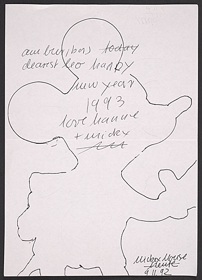Hanne Darboven christmas card to Leo Castelli