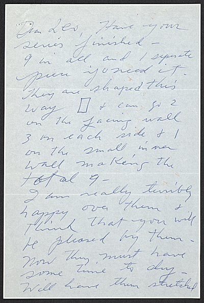 Cy Twombly letter to Leo Castelli