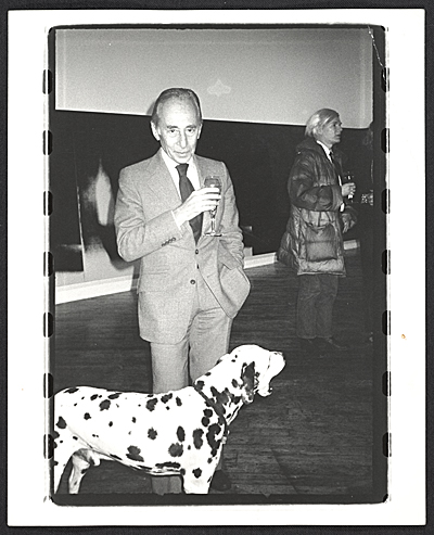 Leo Castelli and Andy Warhol at the Warhol opening of Shadows at Heiner Friedrich, NYC