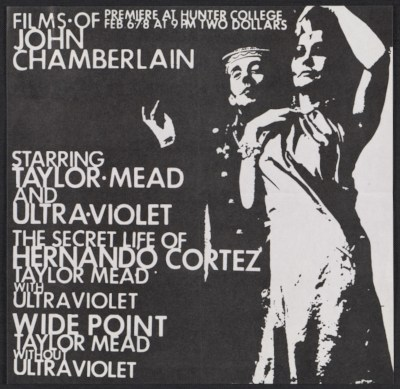 [Flyer for a screening of films by John Chamberlain]