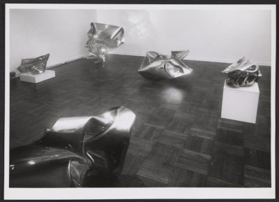 Installation view of the John Chamberlain exhibition at the Leo Castelli Gallery