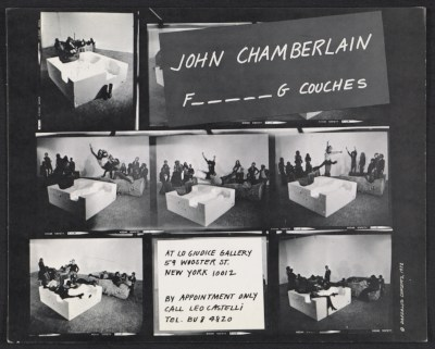 [Announcement for the exhibit John Chamberlain F_ _ _ _ _ G couches]