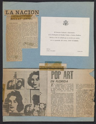 [Page of clippings from the Leo Castelli Gallery's artist file on Andy Warhol]