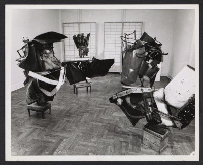 Installation view of the John Chamberlain exhibition at the Martha Jackson gallery