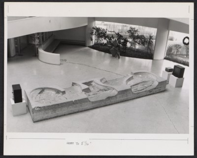 Installation view of John Chamberlains sculpture Untitled at the Guggenheim