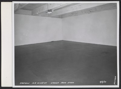 Empty room in the Leo Castelli Gallery warehouse