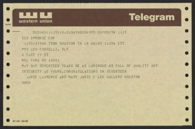 Leo Castelli telegram to Janie C. Lee