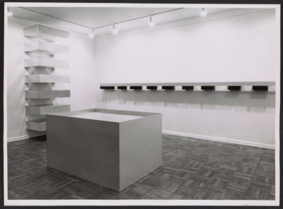 Installation view of a Donald Judd exhibition at the Leo Castelli Gallery