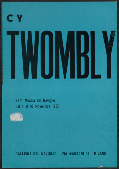 Cy Twombly catalogue from the Galleria del Naviglio