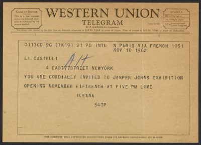 A telegram from Ileana Sonnabend inviting Leo Castelli to the opening of a Jasper Johns exhibition