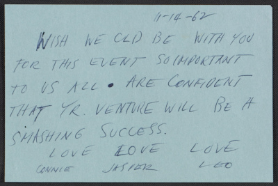 [A note (possibly intended to be a telegram) from Leo Castelli to Ileana Sonnabend]