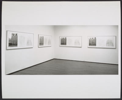 An installation view of Charles Gaines Falling Leaves (#9-16) at the Leo Castelli Gallery