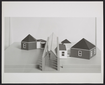 [A design by Cesar Pelli for the Architecture II: Houses for Sale exhibition at the Leo Castelli Gallery]