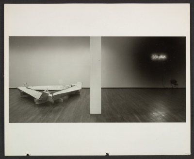 Installation view of Bruce Nauman exhibition at Leo Castelli Gallery at 420 West Broadway in New York City