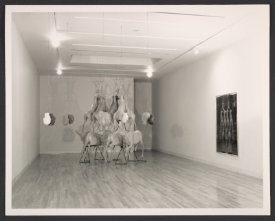 Installation view of Bruce Nauman exhibition at Leo Castelli Gallery at 65 Thompson St. in New York City
