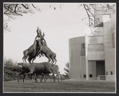 Installation view of Bruce Naumans Animal Pyramid in Greenwood Park at the Des Moines Art Center in Des Moines, Iowa