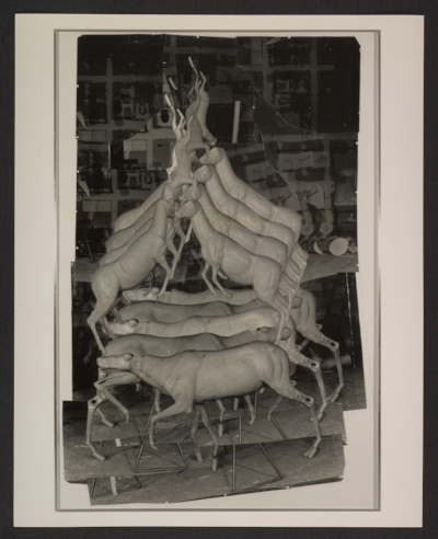 Photocollage of model for Bruce Naumans Animal Pyramid II