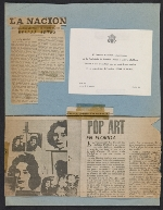 Page of clippings from the Leo Castelli Gallerys artist file on Andy Warhol