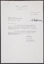 A letter from Sigrid Byers, and assistant editor at Art in America magazine, to Barbara Wool at the Leo Castelli Gallery