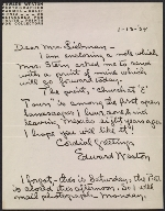 Edward Weston letter to Aline Meyer Liebman