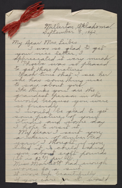 Letter, from Nora Roper to Dorothy Liebes