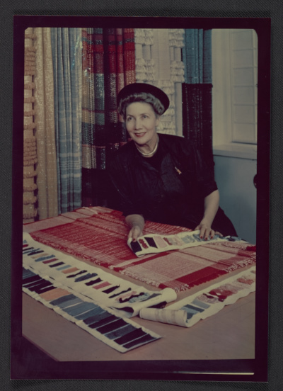 Dorothy Liebes with fabric samples